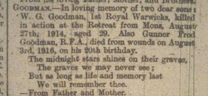 In Memoriam from Rugby Advertiser - 1921