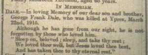 In Memoriam from Rugby Advertiser 24 Mar 1917