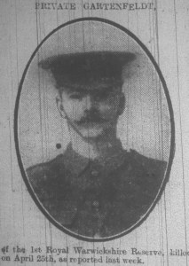 Charles Reginald Gartenfield, Rugby Advertiser 29 May 1915