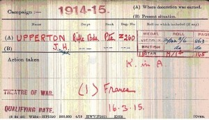 Upperton medal card