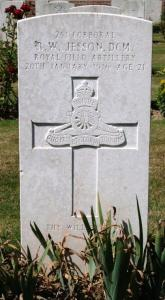 Jesson, R W, Rugby, Warwickshire, Grave in Hebuterne Military Cemetery crop