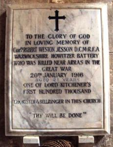 Jesson, R W, Rugby, Warwickshire, Memorial in Church Langton Church, Leicestershire 3 crop