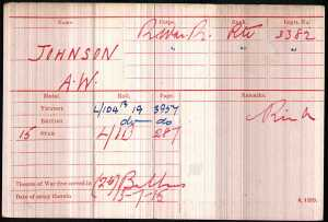 Johnson A W Medal Card