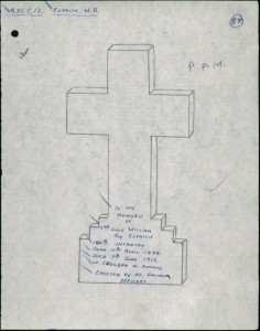 Design for cross on grave of W R Elphick (cwgc website)